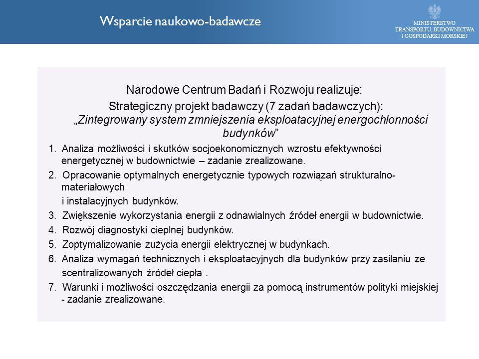 """Narodowe Centrum Badań i Rozwoju realizuje: Strategiczny projekt badawczy (7 zadań badawczych): """"Zintegrowany system zmniejszenia eksploatacyjnej energochłonności budynków 1."""