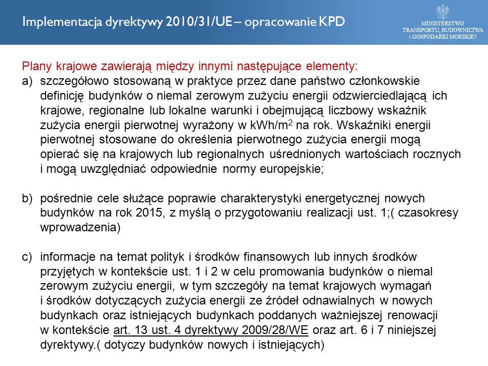 Plany krajowe zawierają między innymi następujące elementy: a)szczegółowo stosowaną w praktyce przez dane państwo członkowskie definicję budynków o niemal zerowym zużyciu energii odzwierciedlającą ich krajowe, regionalne lub lokalne warunki i obejmującą liczbowy wskaźnik zużycia energii pierwotnej wyrażony w kWh/m 2 na rok.