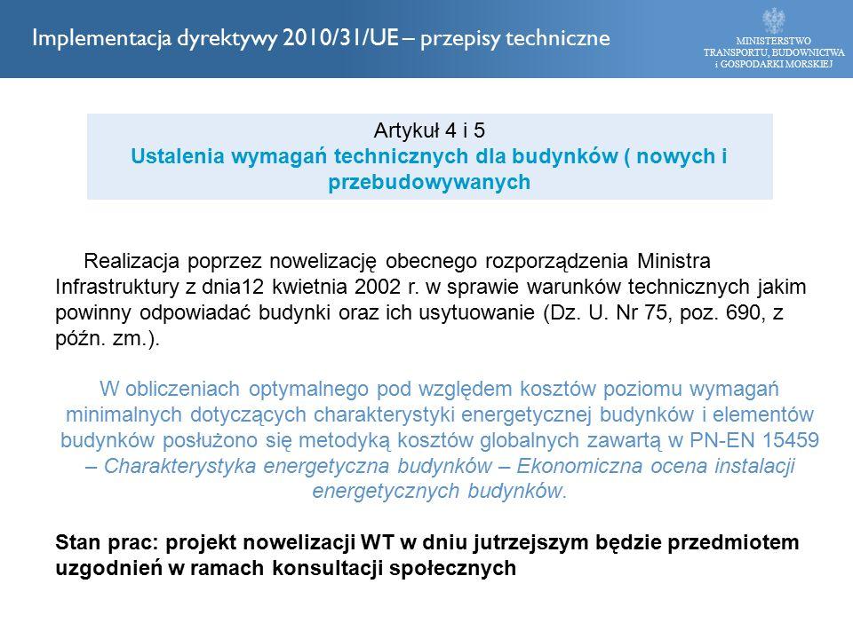 Realizacja poprzez nowelizację obecnego rozporządzenia Ministra Infrastruktury z dnia12 kwietnia 2002 r. w sprawie warunków technicznych jakim powinny