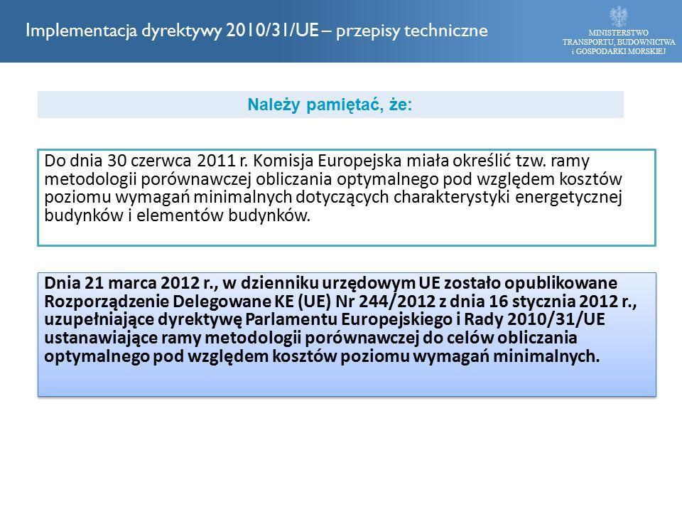 Do dnia 30 czerwca 2011 r. Komisja Europejska miała określić tzw. ramy metodologii porównawczej obliczania optymalnego pod względem kosztów poziomu wy