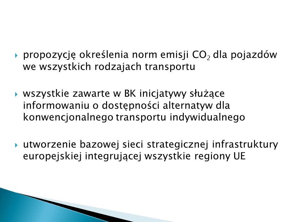  propozycję określenia norm emisji CO 2 dla pojazdów we wszystkich rodzajach transportu  wszystkie zawarte w BK inicjatywy służące informowaniu o dostępności alternatyw dla konwencjonalnego transportu indywidualnego  utworzenie bazowej sieci strategicznej infrastruktury europejskiej integrującej wszystkie regiony UE