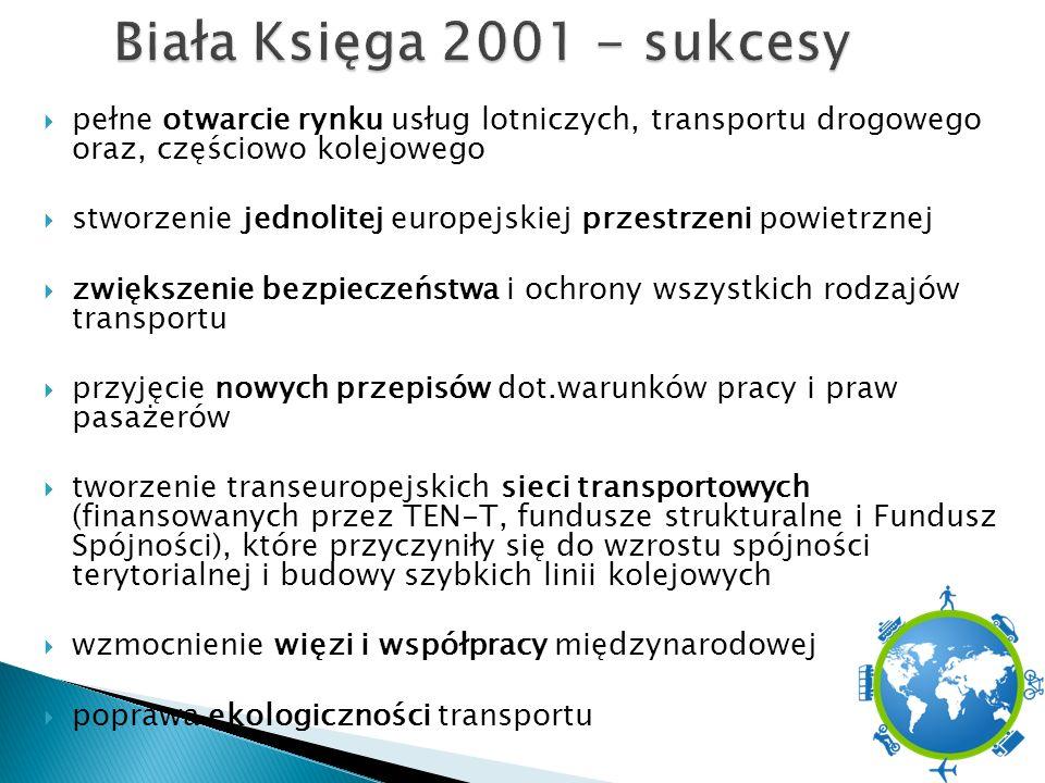  pełne otwarcie rynku usług lotniczych, transportu drogowego oraz, częściowo kolejowego  stworzenie jednolitej europejskiej przestrzeni powietrznej  zwiększenie bezpieczeństwa i ochrony wszystkich rodzajów transportu  przyjęcie nowych przepisów dot.warunków pracy i praw pasażerów  tworzenie transeuropejskich sieci transportowych (finansowanych przez TEN-T, fundusze strukturalne i Fundusz Spójności), które przyczyniły się do wzrostu spójności terytorialnej i budowy szybkich linii kolejowych  wzmocnienie więzi i współpracy międzynarodowej  poprawa ekologiczności transportu