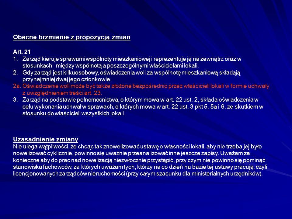 Obecne brzmienie z propozycją zmian Art.21 1.
