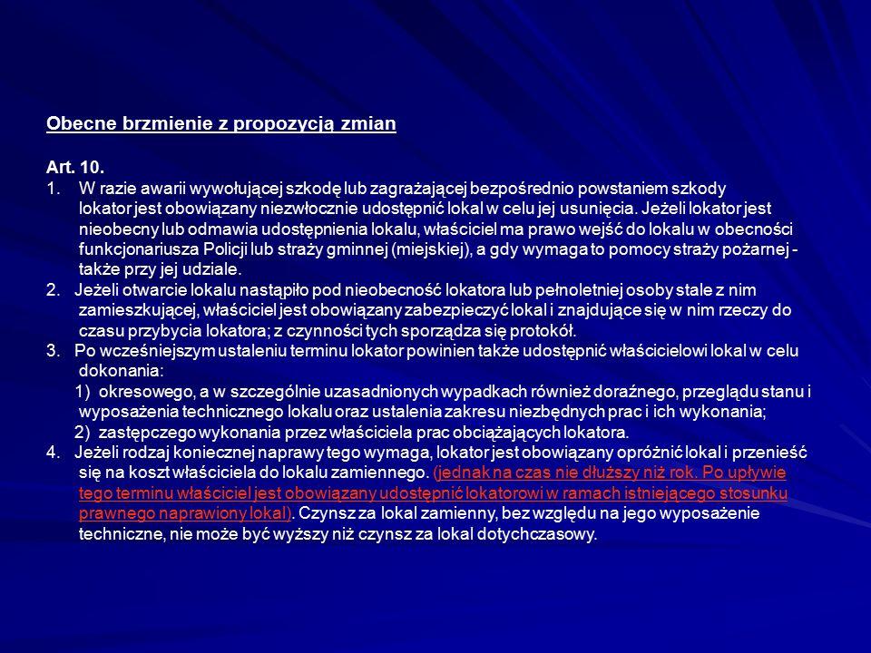 Obecne brzmienie z propozycją zmian Art. 10. 1. W razie awarii wywołującej szkodę lub zagrażającej bezpośrednio powstaniem szkody lokator jest obowiąz