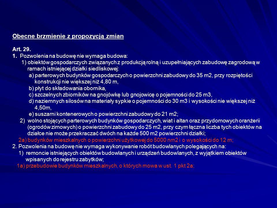 Obecne brzmienie z propozycją zmian Art.29. 1.