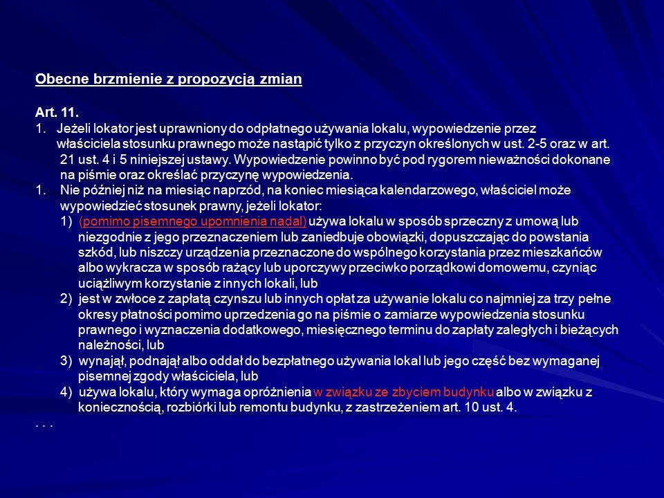 Obecne brzmienie z propozycją zmian Art. 11. 1. Jeżeli lokator jest uprawniony do odpłatnego używania lokalu, wypowiedzenie przez właściciela stosunku