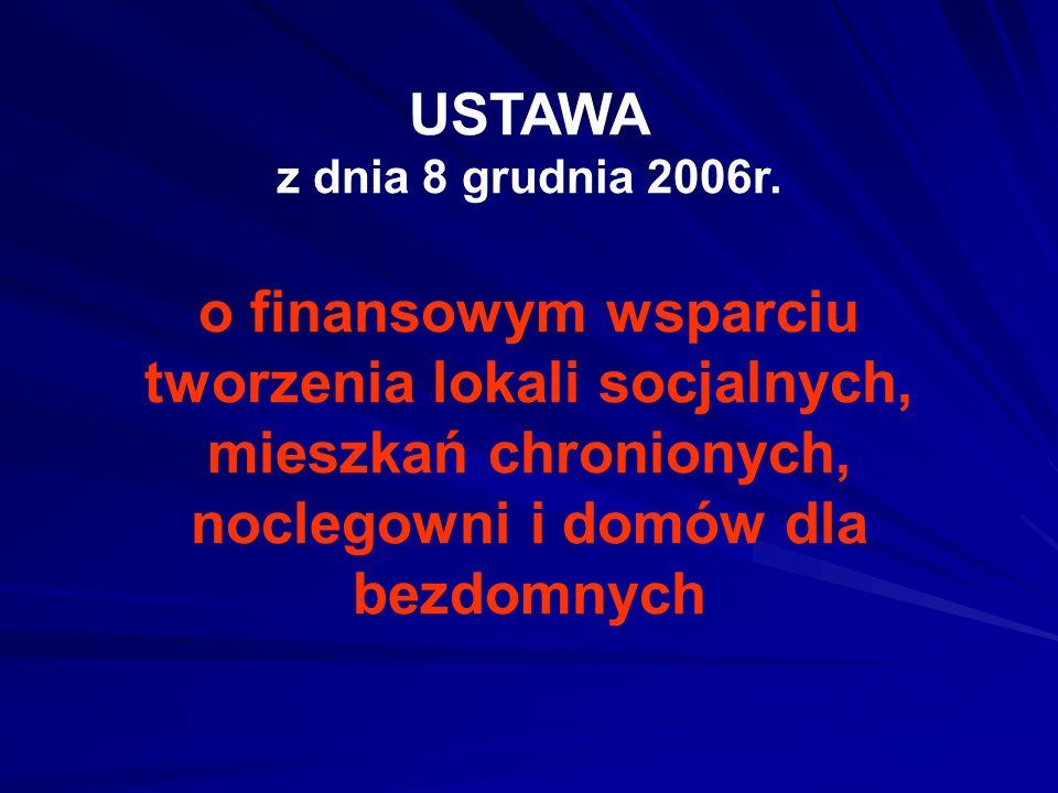 USTAWA z dnia 8 grudnia 2006r. o finansowym wsparciu tworzenia lokali socjalnych, mieszkań chronionych, noclegowni i domów dla bezdomnych