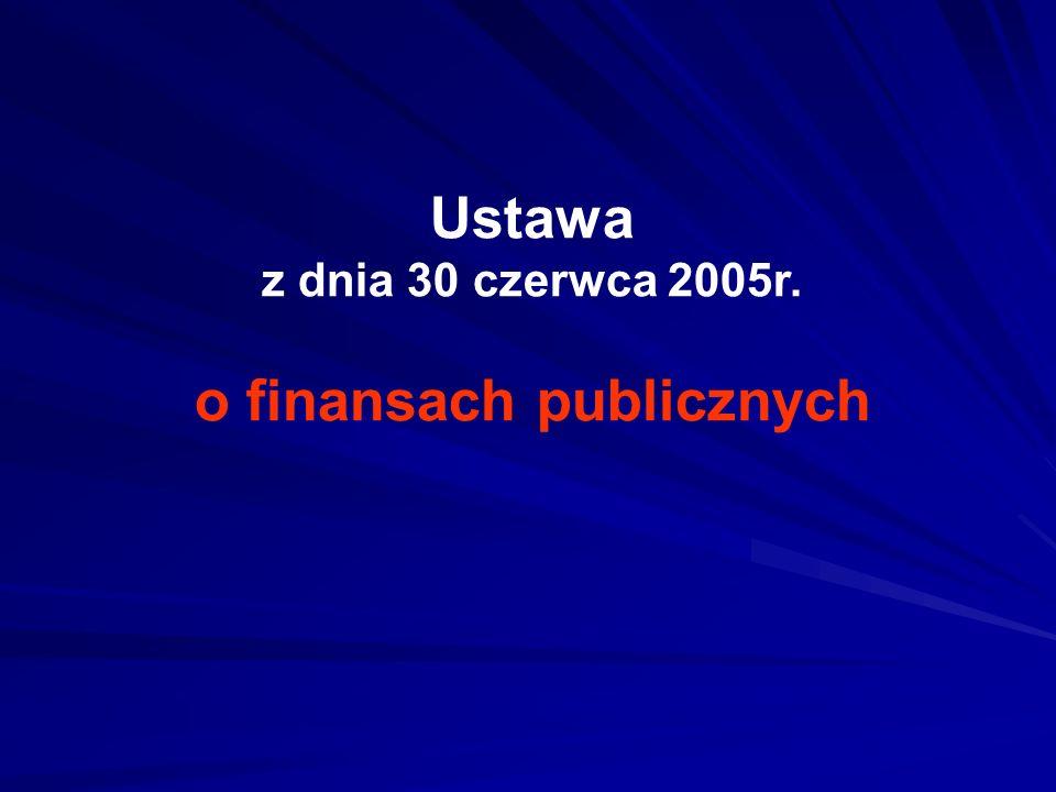Ustawa z dnia 30 czerwca 2005r. o finansach publicznych