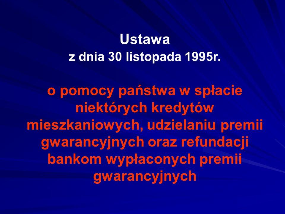 Ustawa z dnia 30 listopada 1995r. o pomocy państwa w spłacie niektórych kredytów mieszkaniowych, udzielaniu premii gwarancyjnych oraz refundacji banko