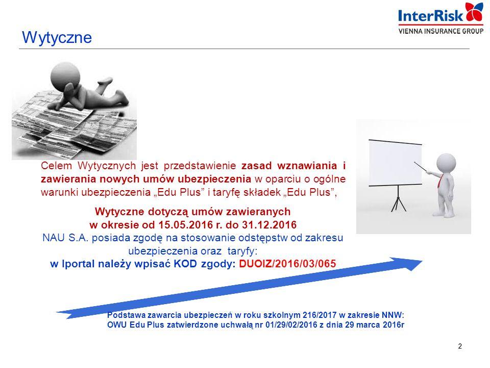 33 Umowa ubezpieczenia grupowego Wzorcowa oferta dla NAU S.A. KOD zgody: DUOIZ/2016/03/065