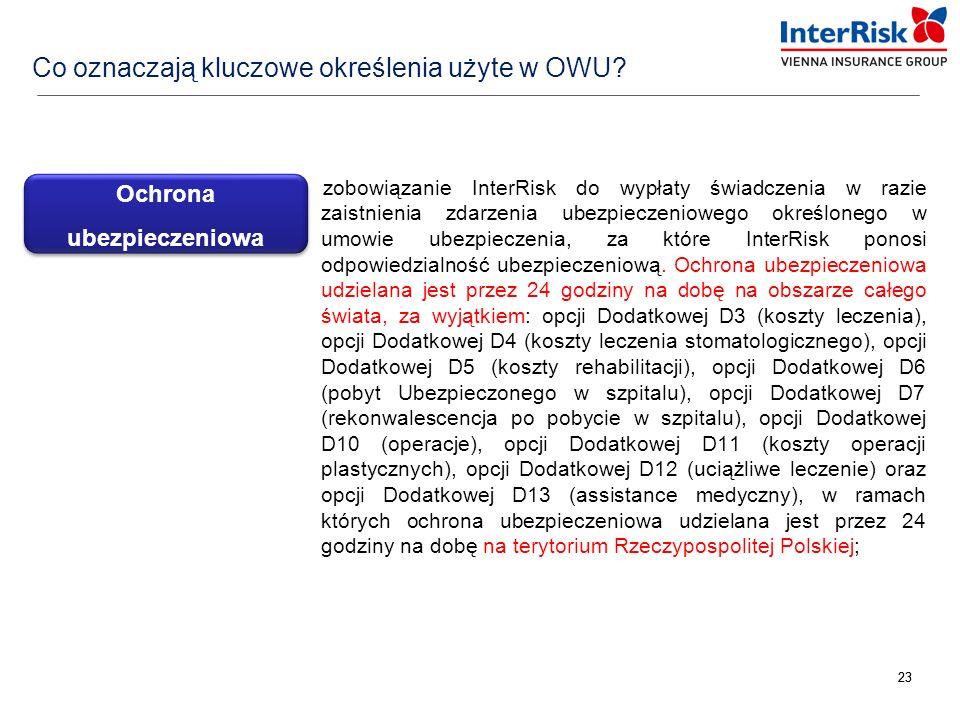 23 zobowiązanie InterRisk do wypłaty świadczenia w razie zaistnienia zdarzenia ubezpieczeniowego określonego w umowie ubezpieczenia, za które InterRis