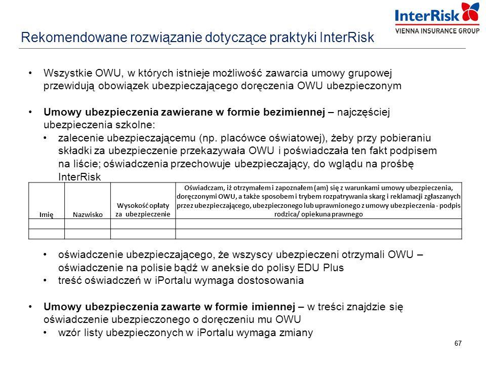 67 Rekomendowane rozwiązanie dotyczące praktyki InterRisk Wszystkie OWU, w których istnieje możliwość zawarcia umowy grupowej przewidują obowiązek ube
