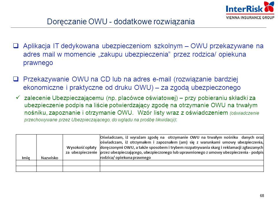 """68 Doręczanie OWU - dodatkowe rozwiązania  Aplikacja IT dedykowana ubezpieczeniom szkolnym – OWU przekazywane na adres mail w momencie """"zakupu ubezpi"""