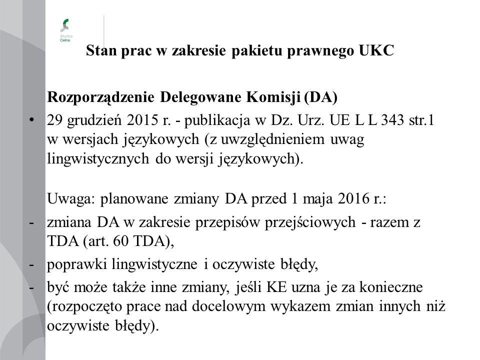 Stan prac w zakresie pakietu prawnego UKC Rozporządzenie Delegowane Komisji (DA) 29 grudzień 2015 r. - publikacja w Dz. Urz. UE L L 343 str.1 w wersja