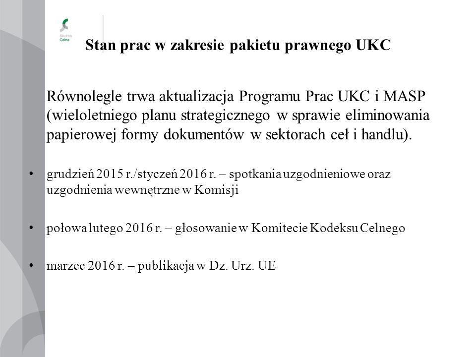 Stan prac w zakresie pakietu prawnego UKC Równolegle trwa aktualizacja Programu Prac UKC i MASP (wieloletniego planu strategicznego w sprawie eliminow
