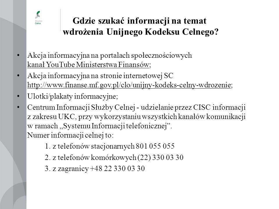 Gdzie szukać informacji na temat wdrożenia Unijnego Kodeksu Celnego? Akcja informacyjna na portalach społecznościowych kanał YouTube Ministerstwa Fina