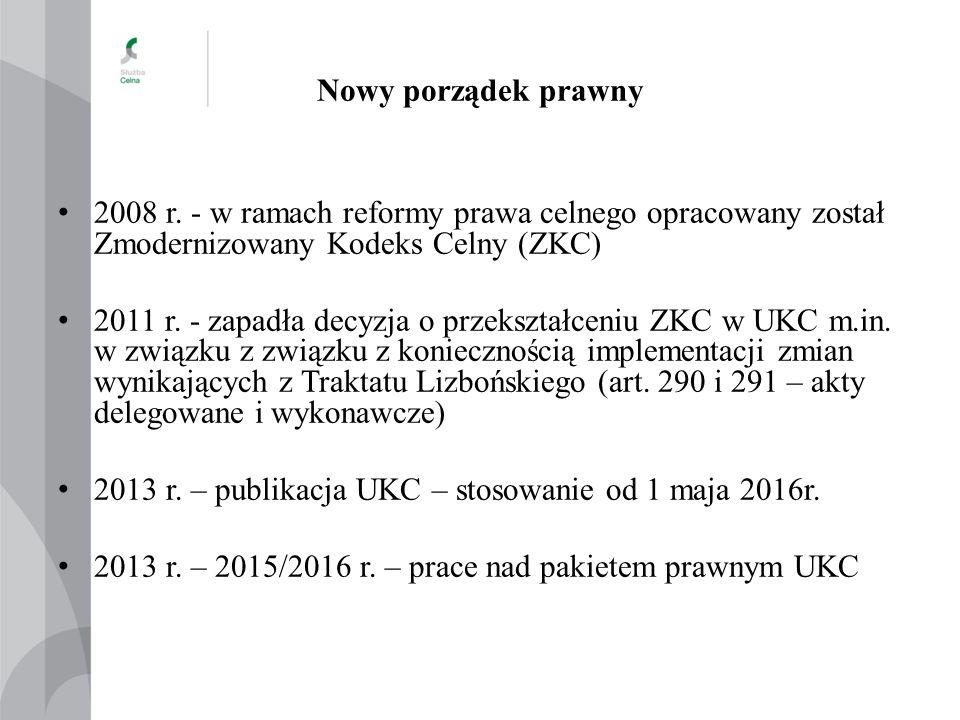 Nowy porządek prawny Pakiet prawny UKC: 1.Unijny Kodeks Celny (UKC) 2.Rozporządzenie Delegowane Komisji (DA) 3.Rozporządzenie Wykonawcze Komisji (IA) 4.Rozporządzenie Delegowane Komisji określające zasady przejściowe w zakresie środków technik informacyjnych (TDA) 5.Program Prac związanych z Unijnym Kodeksem Celnym (UCC WP)