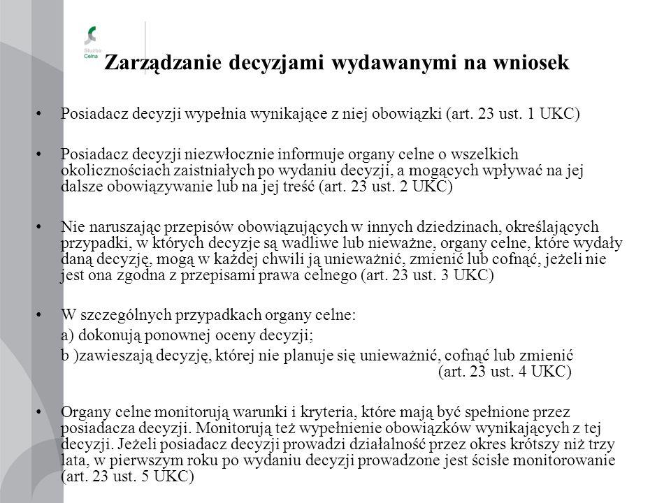 Zarządzanie decyzjami wydawanymi na wniosek Posiadacz decyzji wypełnia wynikające z niej obowiązki (art. 23 ust. 1 UKC) Posiadacz decyzji niezwłocznie