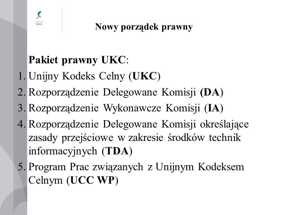 Nowy porządek prawny Pakiet prawny UKC: 1.Unijny Kodeks Celny (UKC) 2.Rozporządzenie Delegowane Komisji (DA) 3.Rozporządzenie Wykonawcze Komisji (IA)