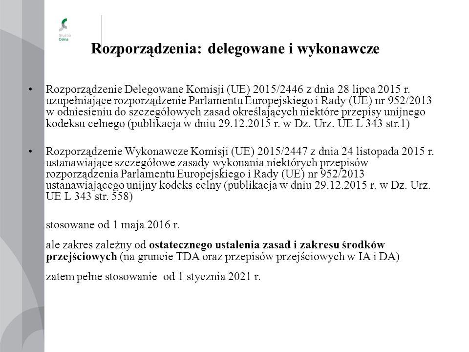 Rozporządzenia: delegowane i wykonawcze Rozporządzenie Delegowane Komisji (UE) 2015/2446 z dnia 28 lipca 2015 r. uzupełniające rozporządzenie Parlamen
