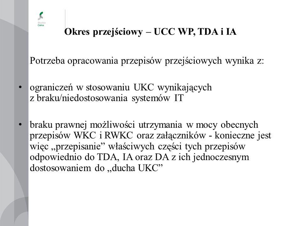 Okres przejściowy – UCC WP, TDA i IA Potrzeba opracowania przepisów przejściowych wynika z: ograniczeń w stosowaniu UKC wynikających z braku/niedostos