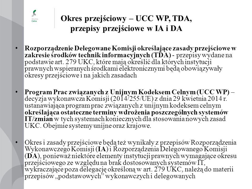 Okres przejściowy – UCC WP, TDA, przepisy przejściowe w IA i DA Rozporządzenie Delegowane Komisji określające zasady przejściowe w zakresie środków te
