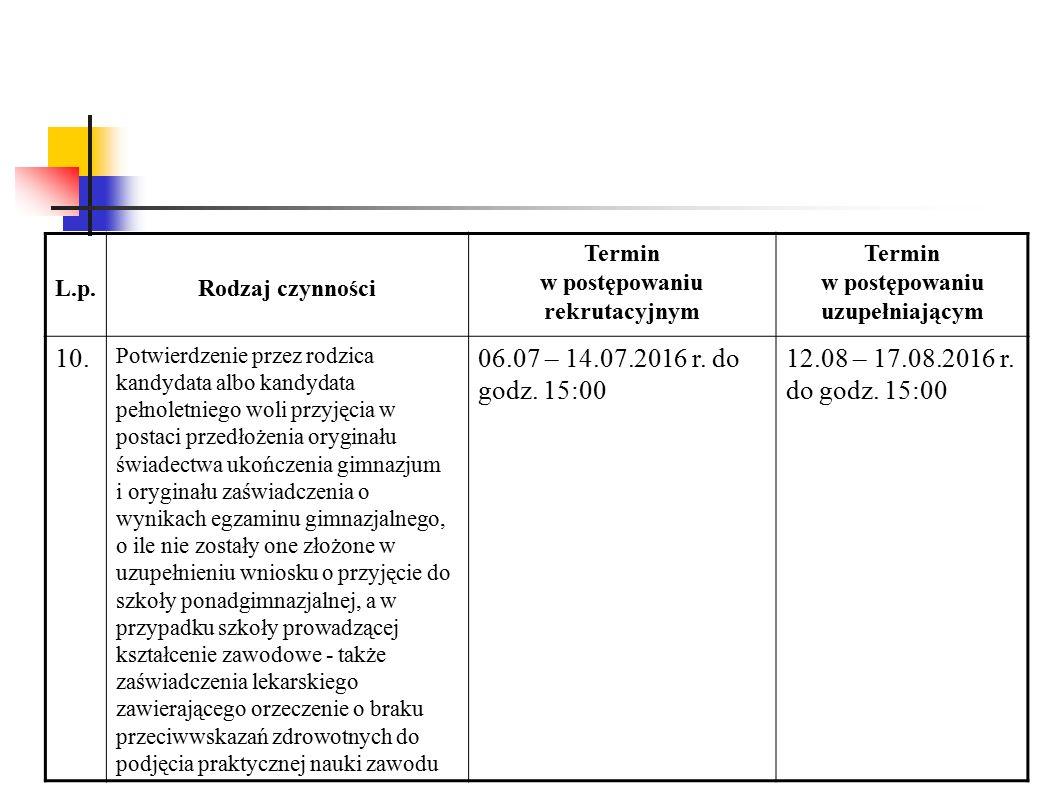 L.p.Rodzaj czynności Termin w postępowaniu rekrutacyjnym Termin w postępowaniu uzupełniającym 10.