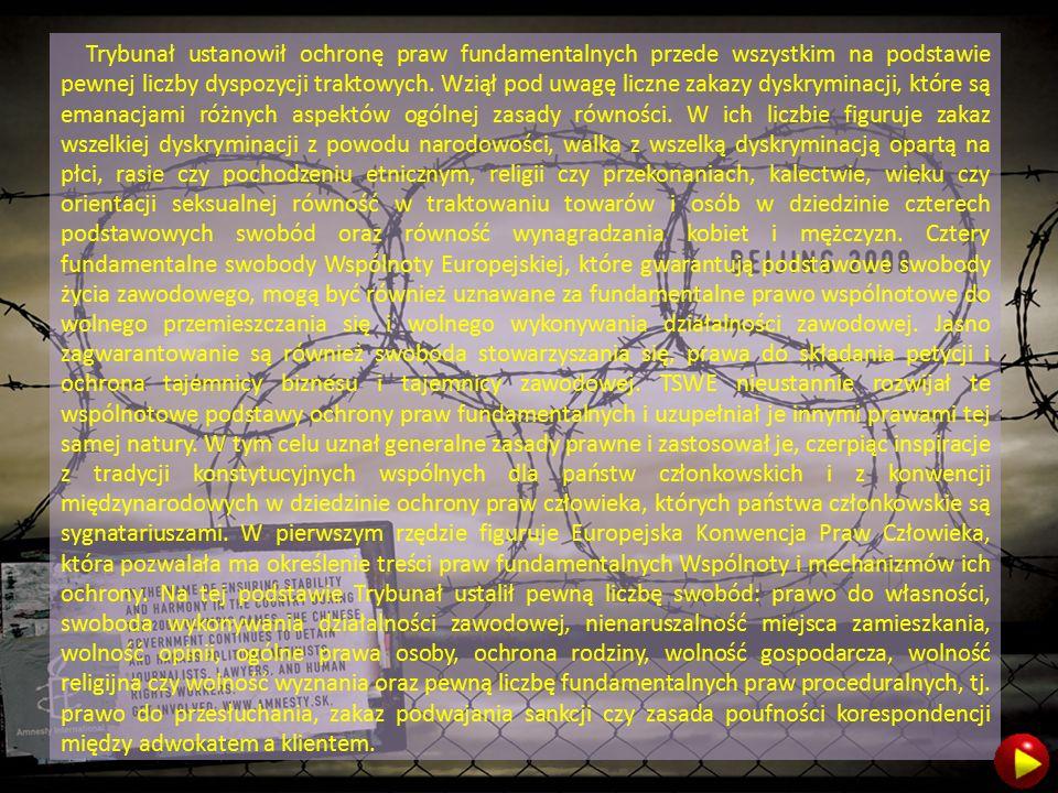 Trybunał ustanowił ochronę praw fundamentalnych przede wszystkim na podstawie pewnej liczby dyspozycji traktowych.