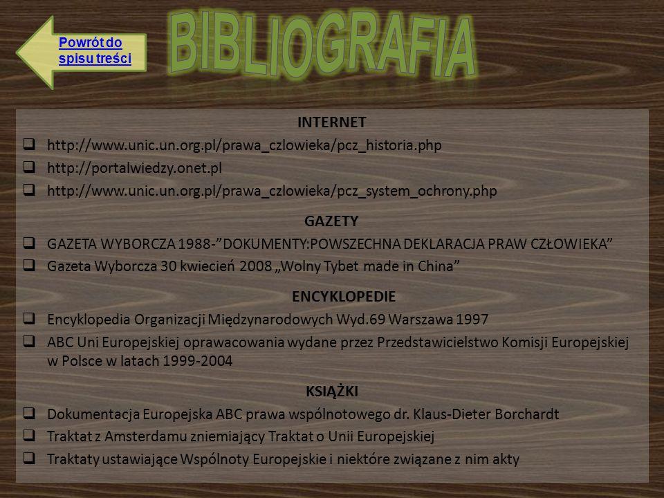 """INTERNET  http://www.unic.un.org.pl/prawa_czlowieka/pcz_historia.php  http://portalwiedzy.onet.pl  http://www.unic.un.org.pl/prawa_czlowieka/pcz_system_ochrony.php GAZETY  GAZETA WYBORCZA 1988- DOKUMENTY:POWSZECHNA DEKLARACJA PRAW CZŁOWIEKA  Gazeta Wyborcza 30 kwiecień 2008 """"Wolny Tybet made in China ENCYKLOPEDIE  Encyklopedia Organizacji Międzynarodowych Wyd.69 Warszawa 1997  ABC Uni Europejskiej oprawacowania wydane przez Przedstawicielstwo Komisji Europejskiej w Polsce w latach 1999-2004 KSIĄŻKI  Dokumentacja Europejska ABC prawa wspólnotowego dr."""