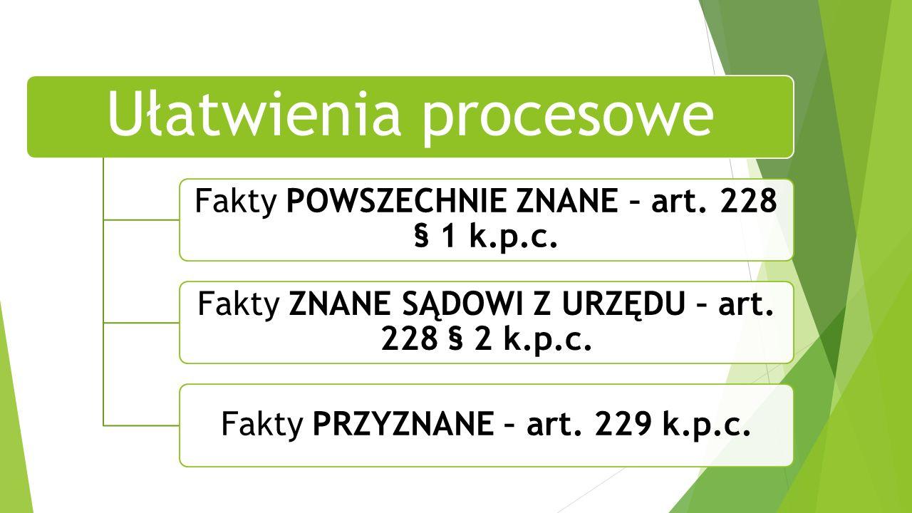 Ułatwienia procesowe Fakty POWSZECHNIE ZNANE – art.