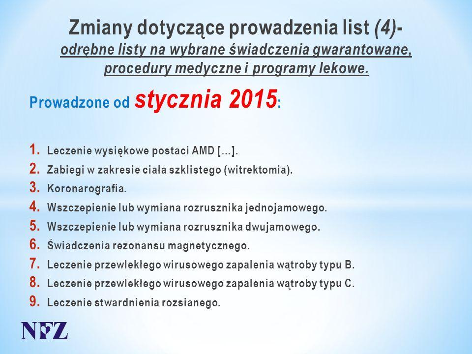 Zmiany dotyczące prowadzenia list (4) - odrębne listy na wybrane świadczenia gwarantowane, procedury medyczne i programy lekowe.
