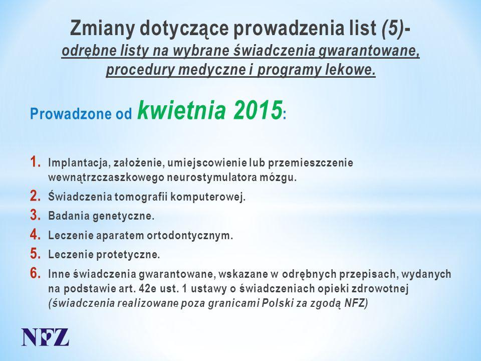 Zmiany dotyczące prowadzenia list (5) - odrębne listy na wybrane świadczenia gwarantowane, procedury medyczne i programy lekowe.