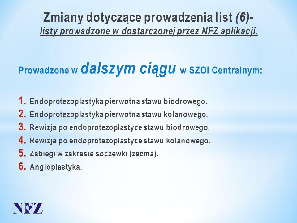 Zmiany dotyczące prowadzenia list (6) - listy prowadzone w dostarczonej przez NFZ aplikacji.