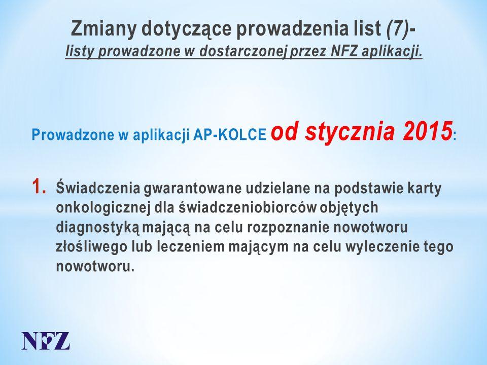 Zmiany dotyczące prowadzenia list (7) - listy prowadzone w dostarczonej przez NFZ aplikacji.