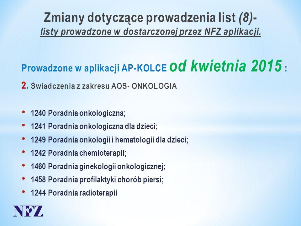 Zmiany dotyczące prowadzenia list (8) - listy prowadzone w dostarczonej przez NFZ aplikacji.