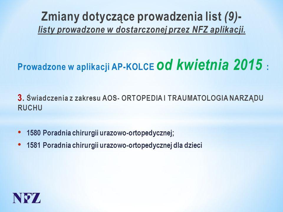Zmiany dotyczące prowadzenia list (9) - listy prowadzone w dostarczonej przez NFZ aplikacji.