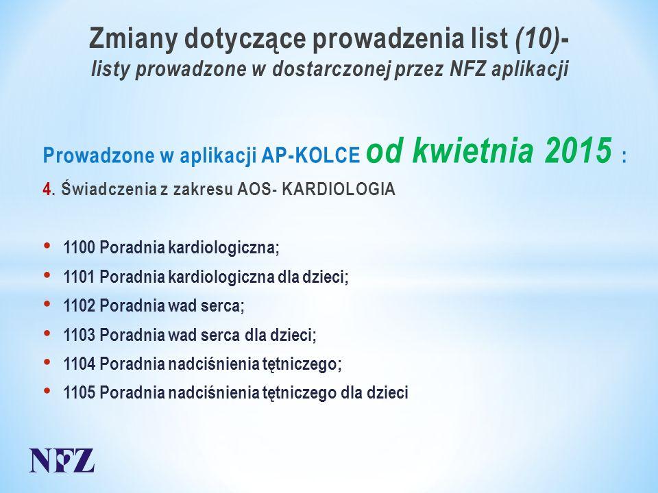 Zmiany dotyczące prowadzenia list (10) - listy prowadzone w dostarczonej przez NFZ aplikacji Prowadzone w aplikacji AP-KOLCE od kwietnia 2015 : 4.