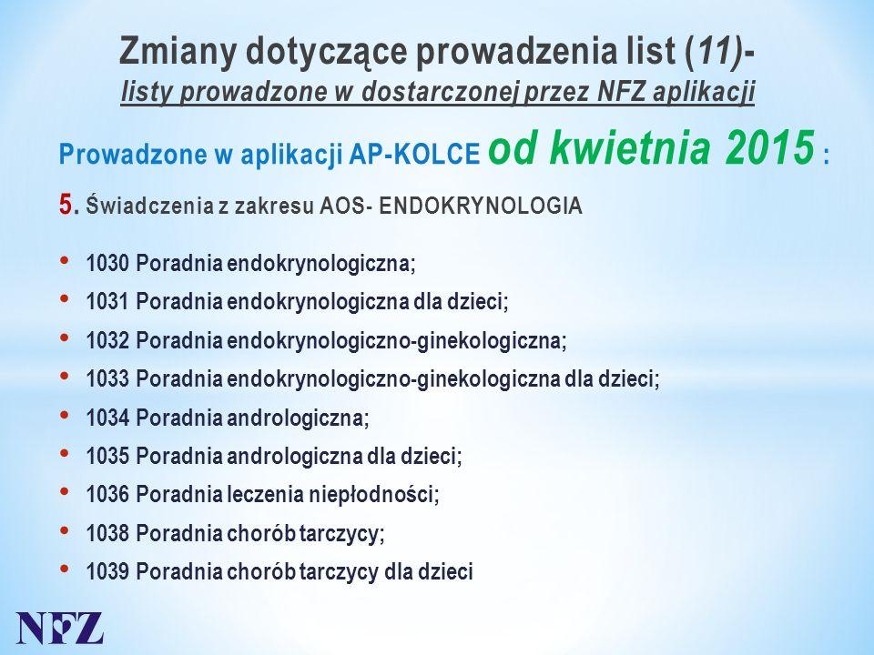 Zmiany dotyczące prowadzenia list ( 11) - listy prowadzone w dostarczonej przez NFZ aplikacji Prowadzone w aplikacji AP-KOLCE od kwietnia 2015 : 5.