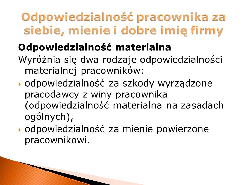 Odpowiedzialność materialna Wyróżnia się dwa rodzaje odpowiedzialności materialnej pracowników:  odpowiedzialność za szkody wyrządzone pracodawcy z winy pracownika (odpowiedzialność materialna na zasadach ogólnych),  odpowiedzialność za mienie powierzone pracownikowi.