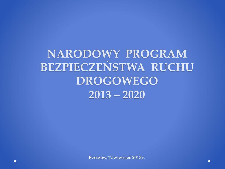 NARODOWY PROGRAM BEZPIECZEŃSTWA RUCHU DROGOWEGO 2013 – 2020 Rzeszów, 12 wrzesień 2013 r.