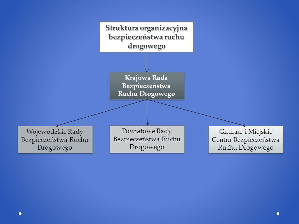 Struktura organizacyjna bezpieczeństwa ruchu drogowego Krajowa Rada Bezpieczeństwa Ruchu Drogowego Wojewódzkie Rady Bezpieczeństwa Ruchu Drogowego Powiatowe Rady Bezpieczeństwa Ruchu Drogowego Gminne i Miejskie Centra Bezpieczeństwa Ruchu Drogowego