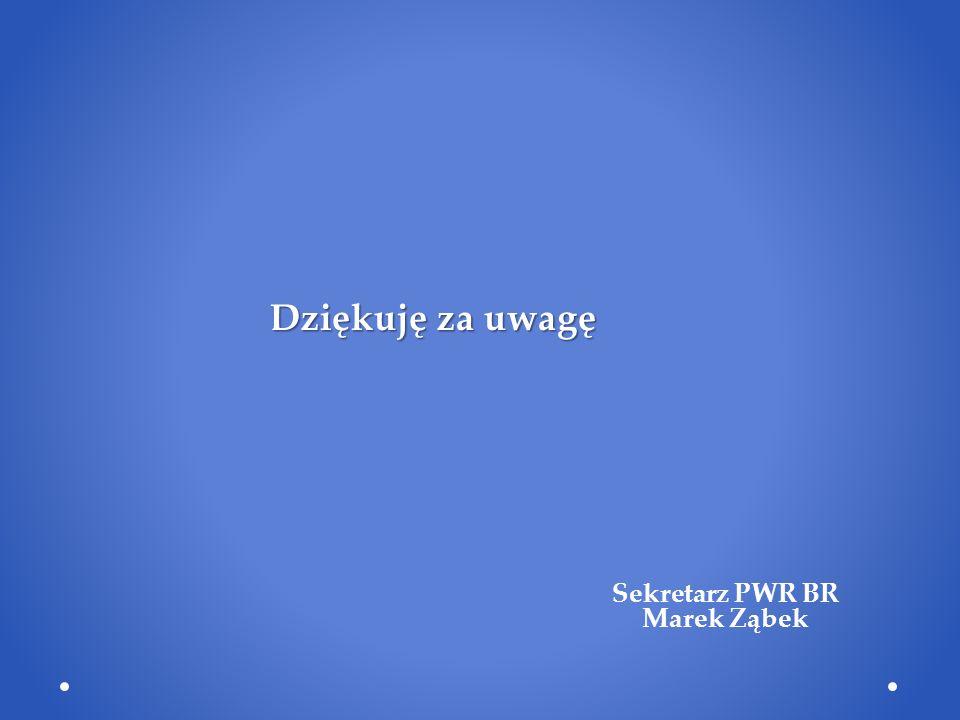 Dziękuję za uwagę Dziękuję za uwagę Sekretarz PWR BR Marek Ząbek