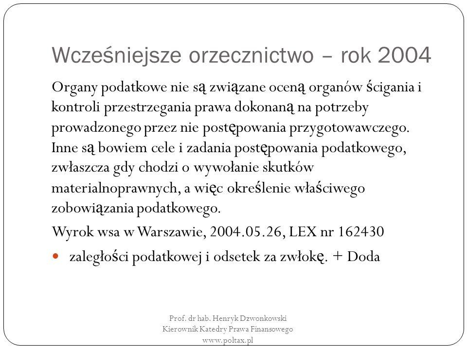 Wcześniejsze orzecznictwo – rok 2004 Organy podatkowe nie s ą zwi ą zane ocen ą organów ś cigania i kontroli przestrzegania prawa dokonan ą na potrzeby prowadzonego przez nie post ę powania przygotowawczego.