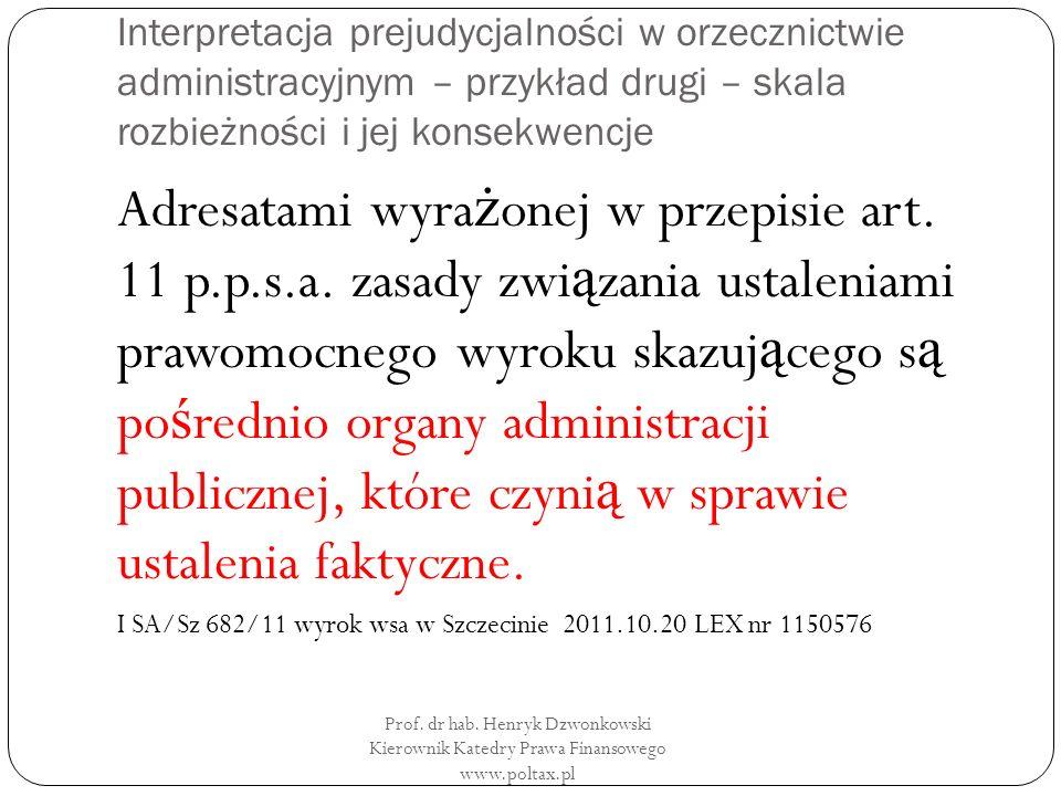 Interpretacja prejudycjalności w orzecznictwie administracyjnym – przykład drugi – skala rozbieżności i jej konsekwencje Adresatami wyra ż onej w przepisie art.