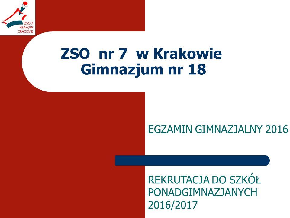 ZSO nr 7 w Krakowie Gimnazjum nr 18 EGZAMIN GIMNAZJALNY 2016 REKRUTACJA DO SZKÓŁ PONADGIMNAZJANYCH 2016/2017