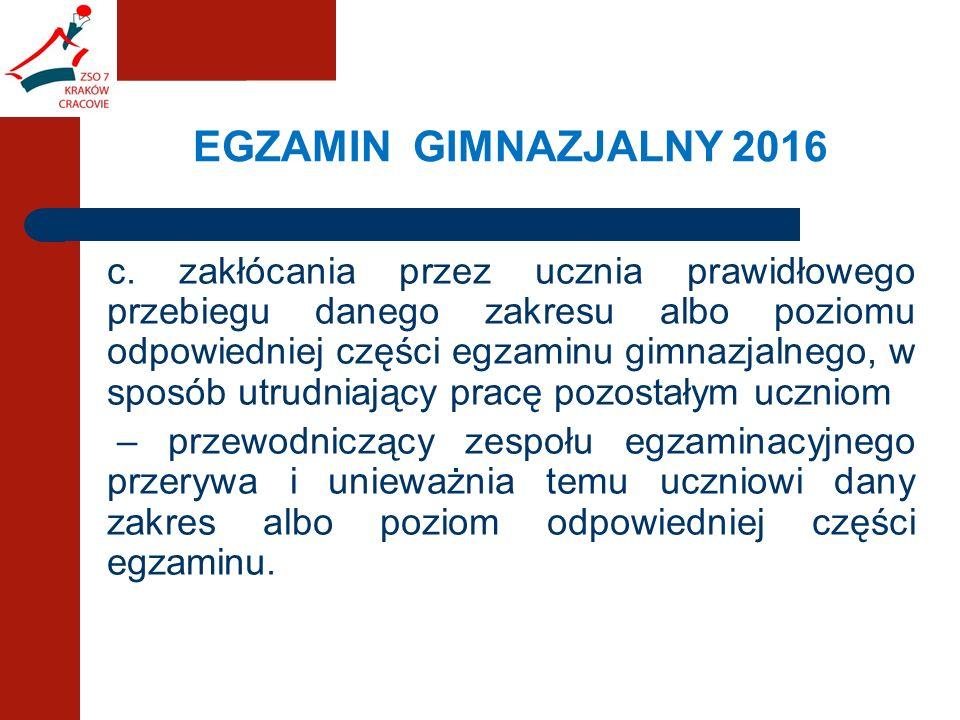 EGZAMIN GIMNAZJALNY 2016 c.