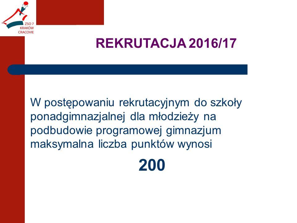 REKRUTACJA 2016/17 W postępowaniu rekrutacyjnym do szkoły ponadgimnazjalnej dla młodzieży na podbudowie programowej gimnazjum maksymalna liczba punktów wynosi 200