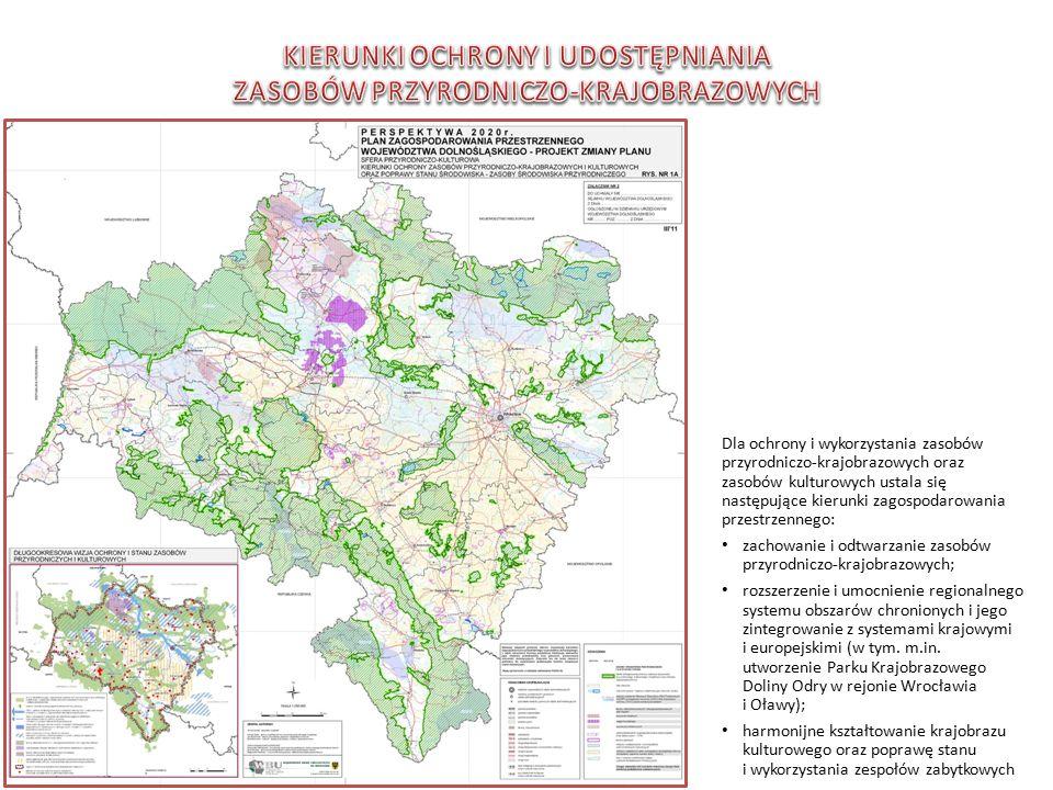 Dla ochrony i wykorzystania zasobów przyrodniczo-krajobrazowych oraz zasobów kulturowych ustala się następujące kierunki zagospodarowania przestrzennego: zachowanie i odtwarzanie zasobów przyrodniczo-krajobrazowych; rozszerzenie i umocnienie regionalnego systemu obszarów chronionych i jego zintegrowanie z systemami krajowymi i europejskimi (w tym.