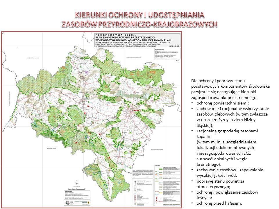 Dla ochrony i poprawy stanu podstawowych komponentów środowiska przyjmuje się następujące kierunki zagospodarowania przestrzennego: ochronę powierzchni ziemi; zachowanie i racjonalne wykorzystanie zasobów glebowych (w tym zwłaszcza w obszarze żyznych ziem Niziny Śląskiej); racjonalną gospodarkę zasobami kopalin (w tym m.