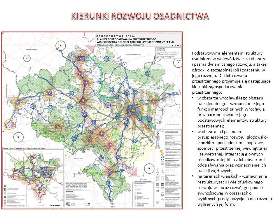 Podstawowymi elementami struktury osadniczej w województwie są obszary i pasma dynamicznego rozwoju, a także ośrodki o szczególnej roli i znaczeniu w jego rozwoju.